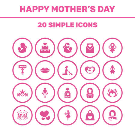 Mothers Day Icon Design Concept. Set Of 20 Such Elements As Playing, Woman And Mom. Beautiful Symbols For Gift, Design And Text.