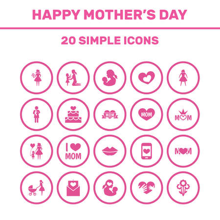 Mothers Day Icon Design Concept. Set Of 20 Such Elements As Woman, Letter And Emotion. Beautiful Symbols For I, Woman And Newborn.