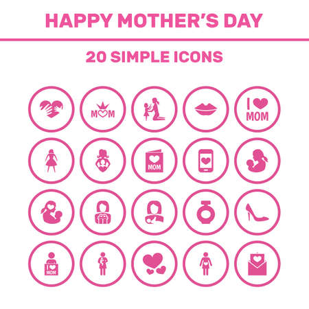 Mothers Day Icon Design Concept. Set Of 20 Such Elements As Daughter, Invitation And Letter. Beautiful Symbols For Envelope, Heeled And Bottle.