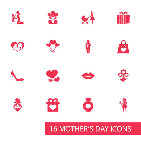 mujer en el supermercado: Mothers Day Icon Design Concept. Set Of 16 Such Elements As Nanny, Present And Stroller. Beautiful Symbols For Headgear, Bottle And Present.