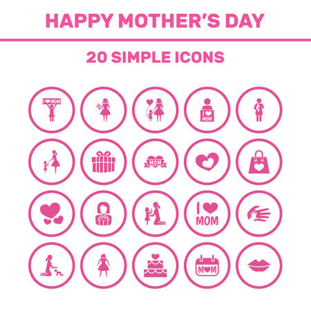 Mothers Day Icon Design Concept. Set Of 20 Such Elements As Helping, Gift To Mother And Lady. Beautiful Symbols For Bouquet, Pastry And Female.