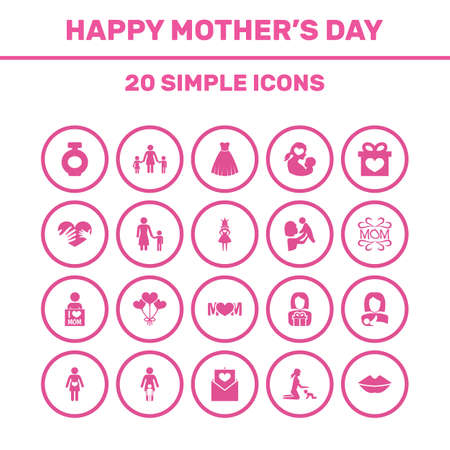 Mothers Day Icon Design Concept. Set Of 20 Such Elements As Mam, Protect And Fragrance. Beautiful Symbols For I, Pregnant And Perfume. Illustration
