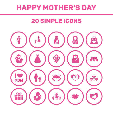 Mothers Day Icon Design Concept. Set Of 20 Such Elements As Baby, Newborn Baby And Loving. Beautiful Symbols For Ribbon, Evening And Envelope.