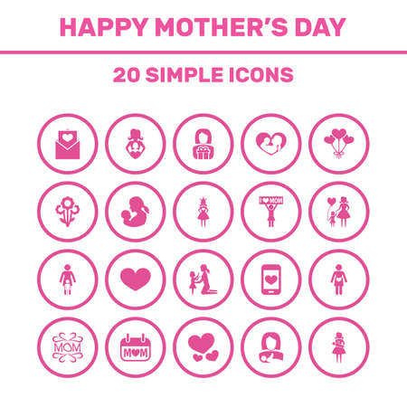 Mothers Day Icon Design Concept. Set Of 20 Such Elements As Daughter, Placard And Protect. Beautiful Symbols For Love, Lady And Pregnancy. Ilustração