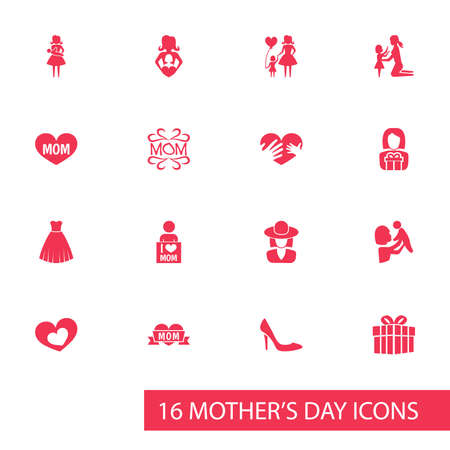 Mothers Day Icon Design Concept. Set Of 16 Such Elements As Stiletto, Hands, Shape. Beautiful Symbols For Stiletto, Woman And Text.