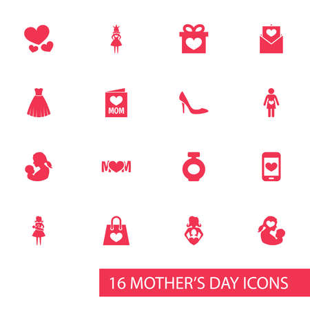 Mothers Day Icon Design Concept. Set Of 16 Such Elements As Fragrance, Missus And Mother. Beautiful Symbols For Newborn, Stiletto And Perfume.