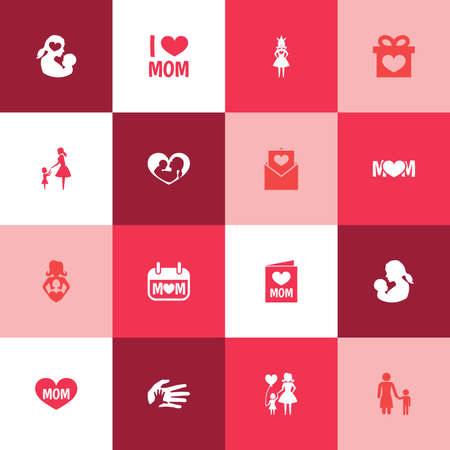 royal: Mothers Day Icon Design Concept. Set Of 16 Such Elements As Queen, Nanny And Design. Beautiful Symbols For Lady, Holiday And Day.