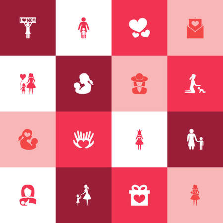 Mothers Day Icon Design Concept. Set Of 16 Such Elements As Mother, Protect And Child. Beautiful Symbols For Son, Hand And Princess.
