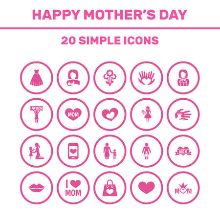 Mothers Day Icon Design Concept. Set Of 20 Such Elements As Protect, Madame And Mouth. Beautiful Symbols For Plant, Text And Gift. Stock Illustratie