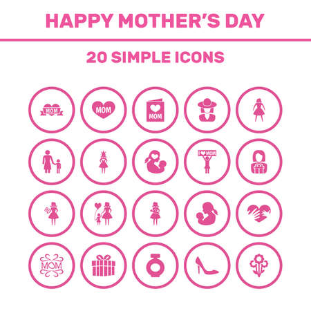 Mothers Day Icon Design Concept. Set Of 20 Such Elements As Placard, Hat And Woman. Beautiful Symbols For Text, Ribbon And Flower. Ilustração