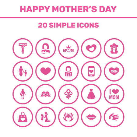 Mothers Day Icon Design Concept. Set Of 20 Such Elements As Gift To Mother, Soul And Shape. Beautiful Symbols For Text, Headgear And Kiss.