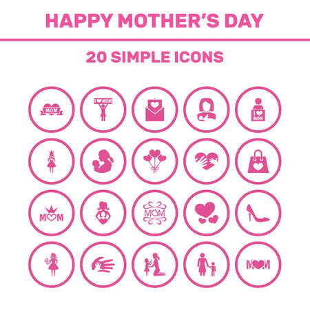 Mothers Day Icon Design Concept. Set Of 20 Such Elements As I Love Mom, Stiletto And Mom. Beautiful Symbols For Queen, I And Daughter. Illustration