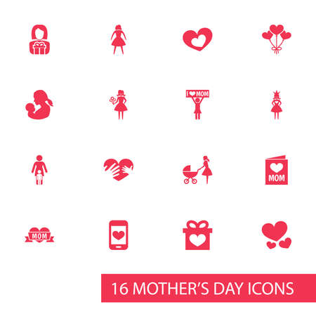 Mothers Day Icon Design Concept. Set Of 16 Such Elements As Relations, Woman And Loving. Beautiful Symbols For Soul, Princess And Decoration.