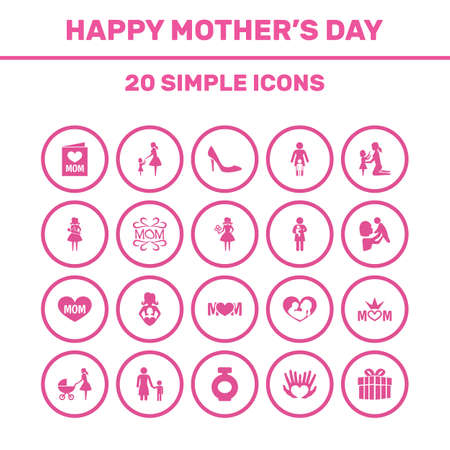 Mothers Day Icon Design Concept. Set Of 20 Such Elements As Newborn Baby, Kid And Woman. Beautiful Symbols For Text, Playing And Bottle. Illustration