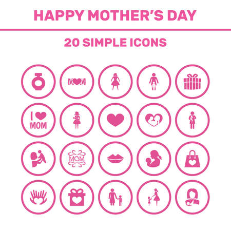 Mothers Day Icon Design Concept. Set Of 20 Such Elements As Palms, Package And Relations. Beautiful Symbols For Infant, Daughter And Bag.