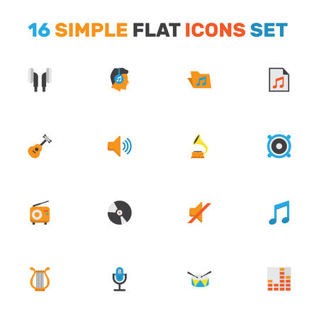 melodic: Multimedia Flat Icons Set. Collection Of Broadcasting, Dj, Acoustic And Other Elements. Also Includes Symbols Such As Male, Archive, Audio. Illustration