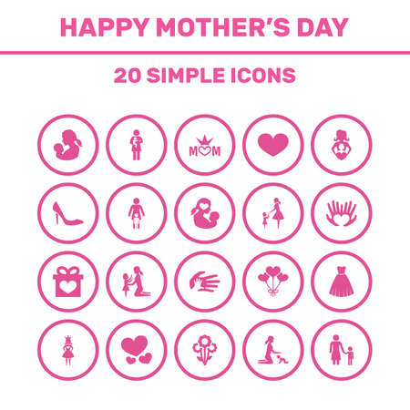 Mothers Day Icon Design Concept. Set Of 20 Such Elements As Flowers, Baby And Relations. Beautiful Symbols For Dress, Palm And Bouquet. Illustration