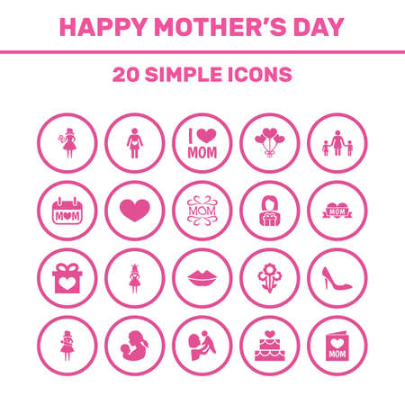 Mothers Day Icon Design Concept. Set Of 20 Such Elements As Decoration, Mam And Holiday. Beautiful Symbols For Love, Woman And Heeled. Illustration