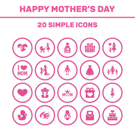 Mothers Day Icon Design Concept. Set Of 20 Such Elements As Nanny, Hat And Daughter. Beautiful Symbols For Soul, Children And Helping.