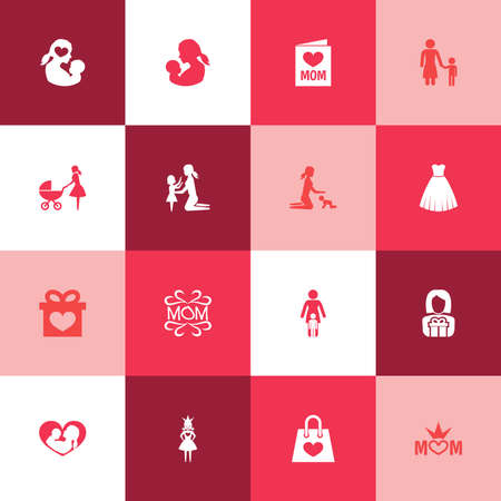 mujer en el supermercado: Mothers Day Icon Design Concept. Set Of 16 Such Elements As Evening Gown, Mam And Baby. Beautiful Symbols For Stroller, Mother And Dress. Vectores