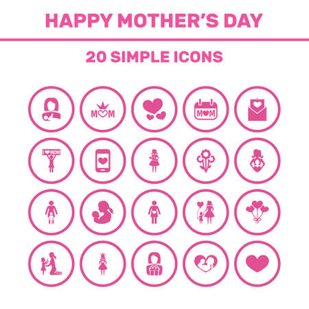 Mothers Day Icon Design Concept. Set Of 20 Such Elements As Cellphone, Daughter And Queen. Beautiful Symbols For Infant, Care And Pregnant.