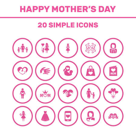 Mothers Day Icon Design Concept. Set Of 20 Such Elements As Infant, Helping And Cellphone. Beautiful Symbols For Son, Helping And Bag.