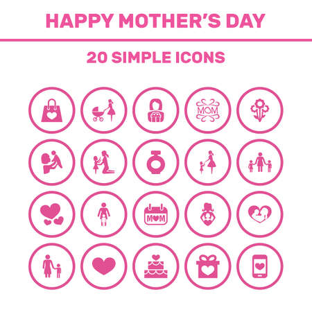 perambulator: Mothers Day Icon Design Concept. Set Of 20 Such Elements As Kid, Daughter And Madame. Beautiful Symbols For Care, Baby And Day. Illustration