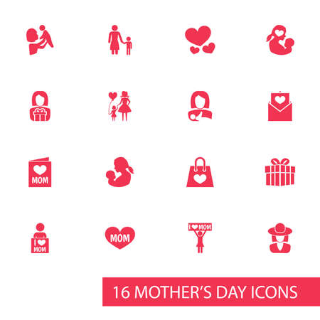 mujer en el supermercado: Mothers Day Icon Design Concept. Set Of 16 Such Elements As Baby, Text And Heart. Beautiful Symbols For Letter, Balloon And Shopping.