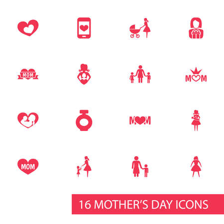 Mothers Day Icon Design Concept. Set Of 16 Such Elements As Gift To Mother, Shape And Cellphone. Beautiful Symbols For Gift, Love And Playing.