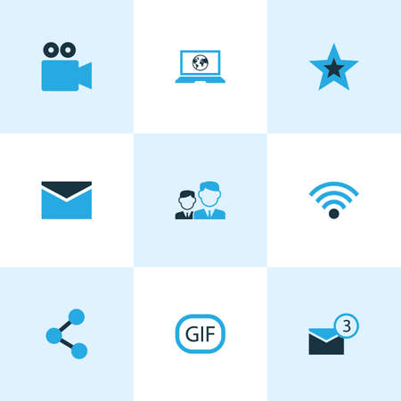 Social Colorful Icons Set. Collection Of Envelope, Animation, Notification And Other Elements. Also Includes Symbols Such As Share, Wifi, Message.