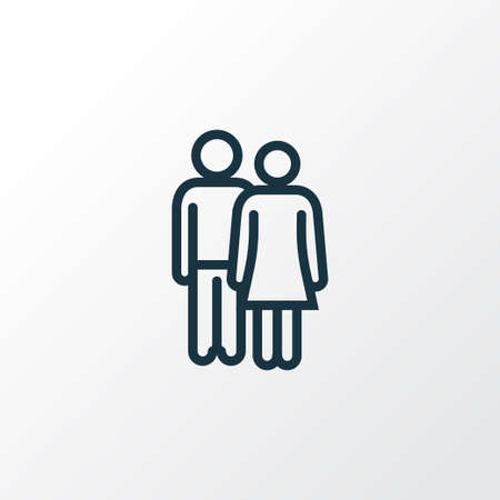 Lover Outline Symbol. Premium Quality Isolated Couple Element In Trendy Style. Illustration