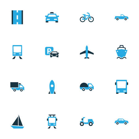 bogie: Transport Colorful Icons Set. Collection Of Sailboat, Scooter, Parking And Other Elements. Also Includes Symbols Such As Jet, Bogie, Rocket.