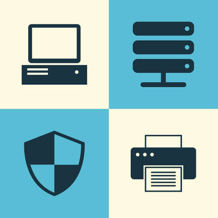 Notebook Icons Set. Collection Of Database, Monitor, Printing Machine And Other Elements. Also Includes Symbols Such As Storage, Defense, Printer. Illustration