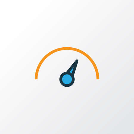 Speedometer Colorful Outline Symbol. Premium Quality Isolated Speed Element In Trendy Style.
