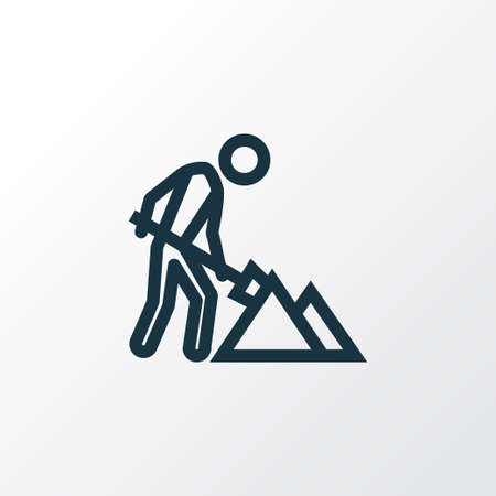 under construction sign with man: Maintenance Outline Symbol. Premium Quality Isolated Construction Works Element In Trendy Style.