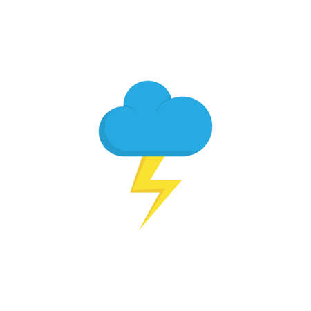 Lightning Flat Icon Symbol. Premium Quality Isolated The Flash Element In Trendy Style.
