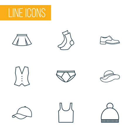 closet: Garment Outline Icons Set. Collection Of Waistcoat, Pompom, Panama And Other Elements. Also Includes Symbols Such As Summer, Cap, Footwear. Illustration