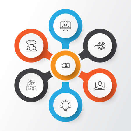 Business Management Icons Set. Collection Of Collaborative Solution, Great Glimpse, Dialogue And Other Elements. Also Includes Symbols Such As Social, Identity, Card.