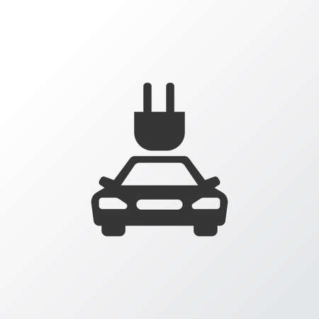 Electric Car Icon Symbol. Premium Quality Isolated Plug Element In Trendy Style.