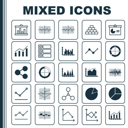 Set Of Graphs, Diagrams And Statistics Icons. Premium Quality Symbol Collection. Icons Can Be Used For Web, App And UI Design. Stock Photo
