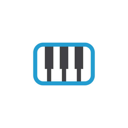 octave: Synthesizer Flat Icon Symbol. Premium Quality Isolated Pianoforte Element In Trendy Style.