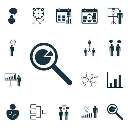 advantages: Set Of 16 Management Icons. Includes Project Presentation, Reminder, Group Organization And Other Symbols. Beautiful Design Elements. Illustration