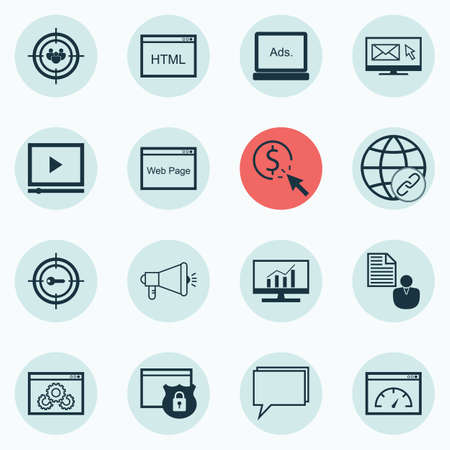 briefing: Set Of 16 SEO Icons. Includes PPC, Focus Group, Website And Other Symbols. Beautiful Design Elements.