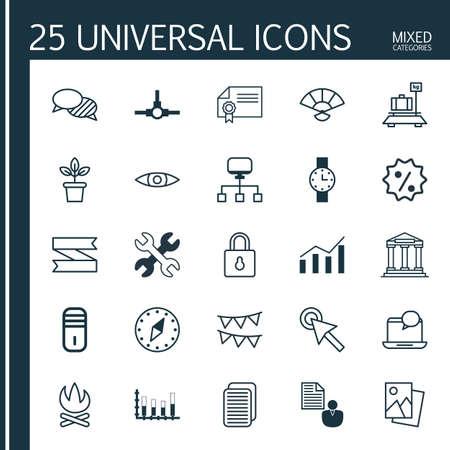 Set van 25 universele bewerkbare iconen. Kan worden gebruikt voor web-, mobiel- en app-ontwerp. Bevat elementen zoals diploma, bagage, vreugdevuur en meer.