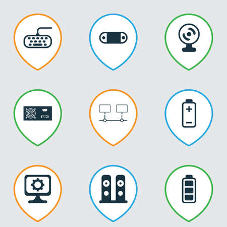 Set Of 9 Computer Hardware Icons. Includes Loudspeakers, PC, Connected Devices And Other Symbols. Beautiful Design Elements.