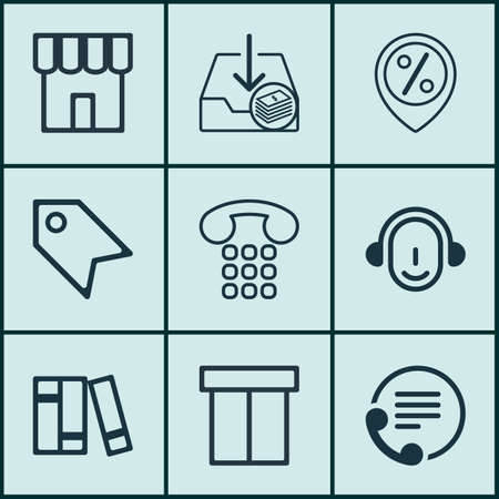 pager: Set Of 9 E-Commerce Icons. Includes Discount Location, Box, Employee And Other Symbols. Beautiful Design Elements. Illustration
