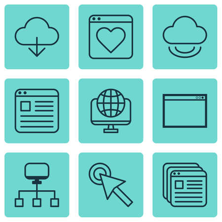 wap: Set Of 9 World Wide Web Icons. Includes Cursor Tap, Followed Website, Save Data And Other Symbols. Beautiful Design Elements.