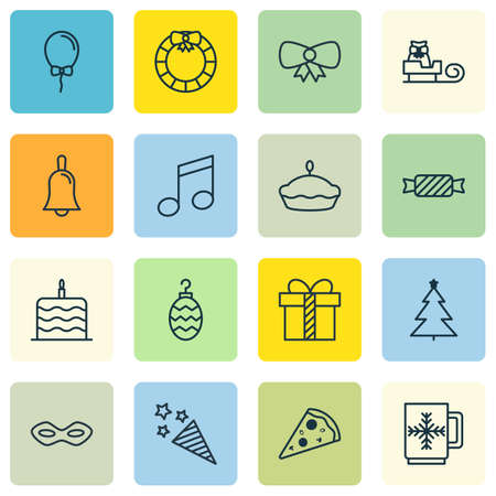 Set Of 16 Happy New Year Icons. Includes Carnival Face, Sleigh, Balloon And Other Symbols. Beautiful Design Elements.