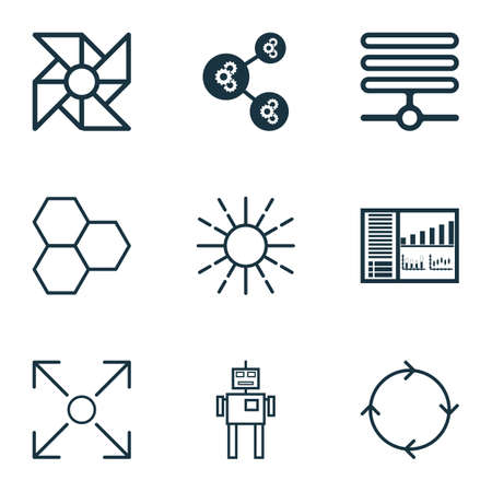 Set Of 9 Artificial Intelligence Icons. Includes Information Base, Branching Program, Recurring Program And Other Symbols. Beautiful Design Elements. Illustration