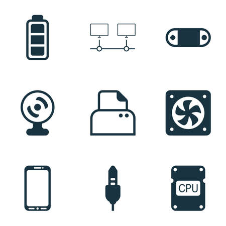 pc icon: Set Of 9 Computer Hardware Icons. Includes File Scanner, Radio Set, Smartphone And Other Symbols. Beautiful Design Elements.